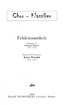 Feldeinsamkeit (Frauenchor)