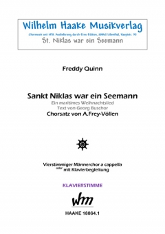 Sankt Niklas war ein Seemann (Klavierstimme Männerchor)